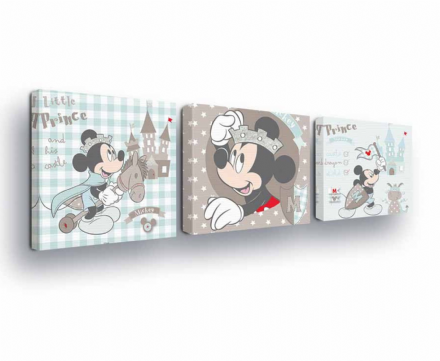 SET of 3 Mickey Mouse Disney Canvas